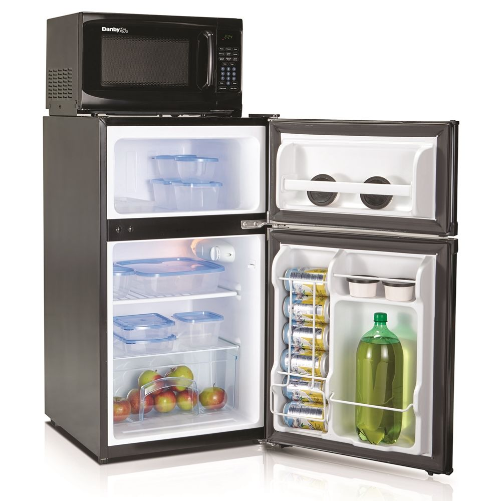 Danby® One Plug Combo Refrigerator and Microwave Combo, 3.1 Cu Ft, Auto-Defrost, 700 Watts, Black