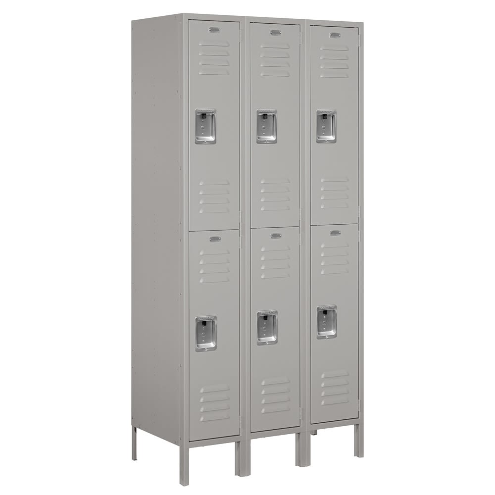 Double-Tier Standard Metal Locker, 3 Frames Wide x 72 in H x 18 in D, Gray, Assembled