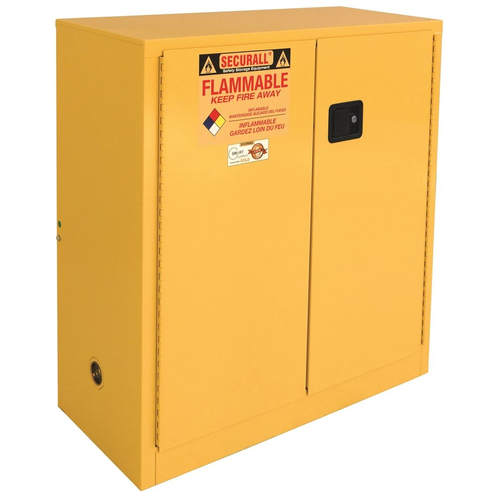 SECURALL® Flammable Safety Storage Cabinet, 30 Gallon, 44Hx43Wx18D, Yellow