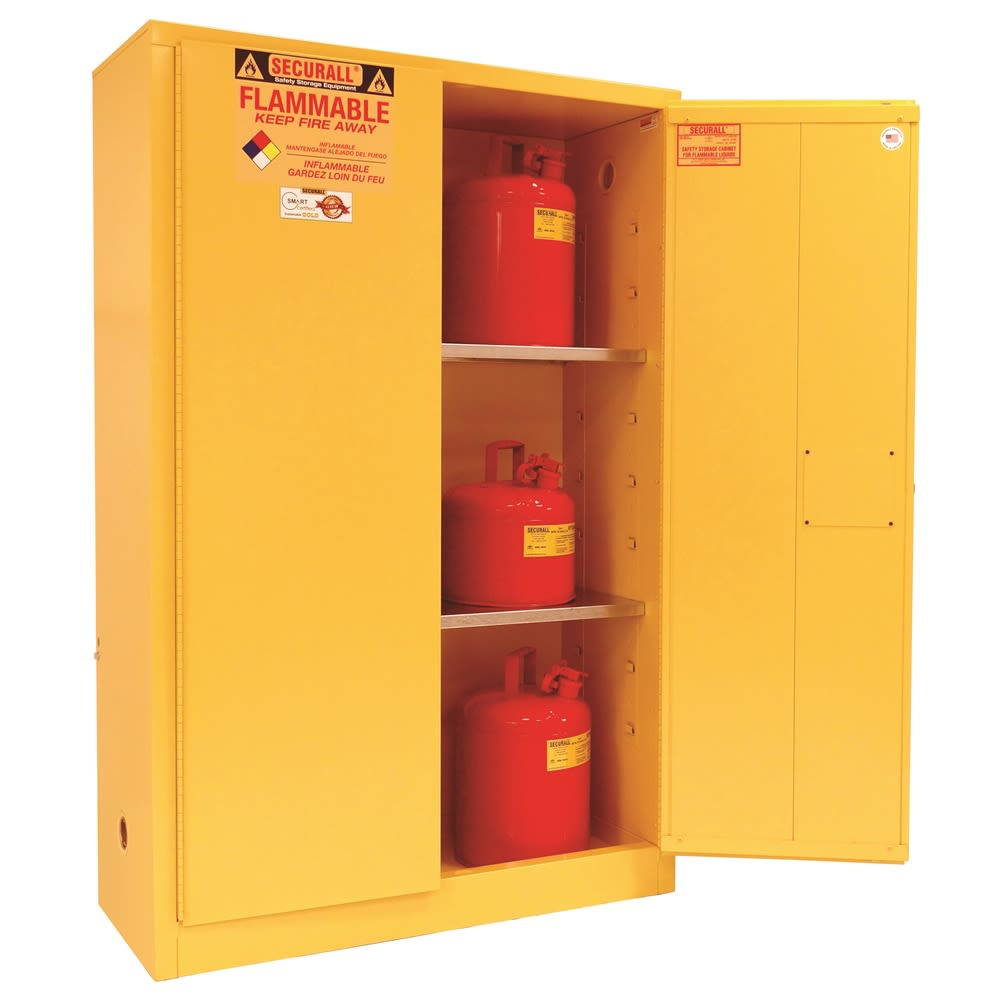 SECURALL® Flammable Safety Storage Cabinet, 45 Gallon, 65Hx43Wx18D, Yellow