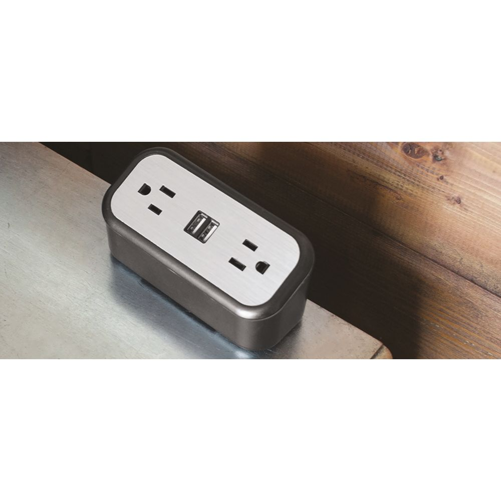 Brandstand CubieMini Charging Station, 2 Power Outlets, 2 USB Ports, Black