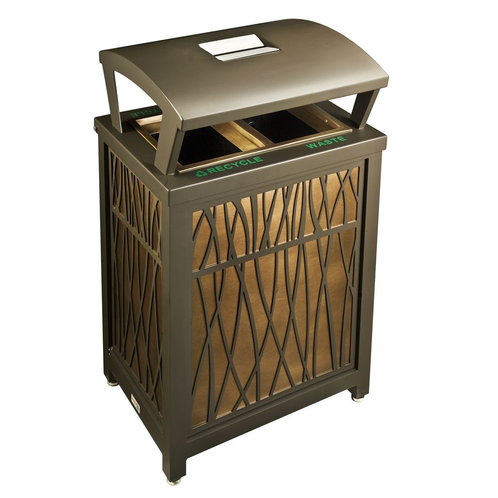 Architectural Brass® Avenue Series Ash/Trash/Recycle Exterior Receptacle with Hood, Metallic Bronze