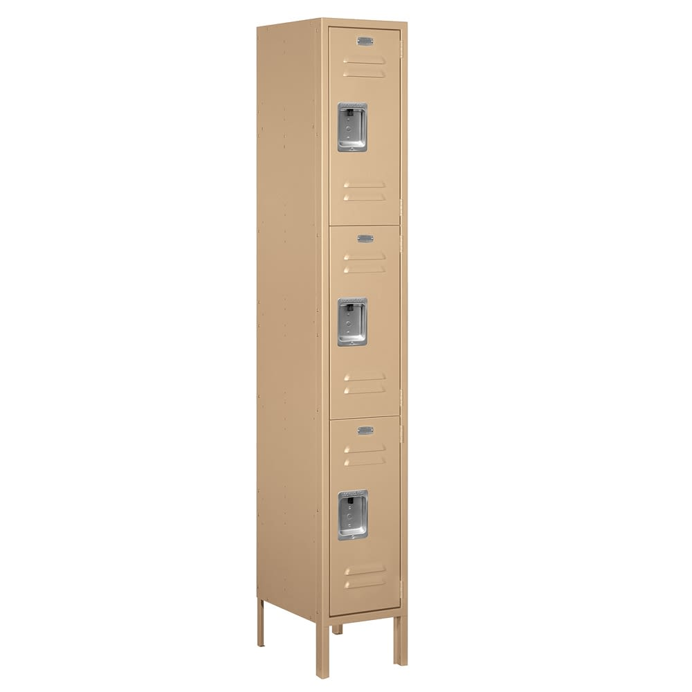 Triple-Tier See-Through Metal Locker, 1 Frame Wide x 72 in  H x 15 in D, Tan, Assembled