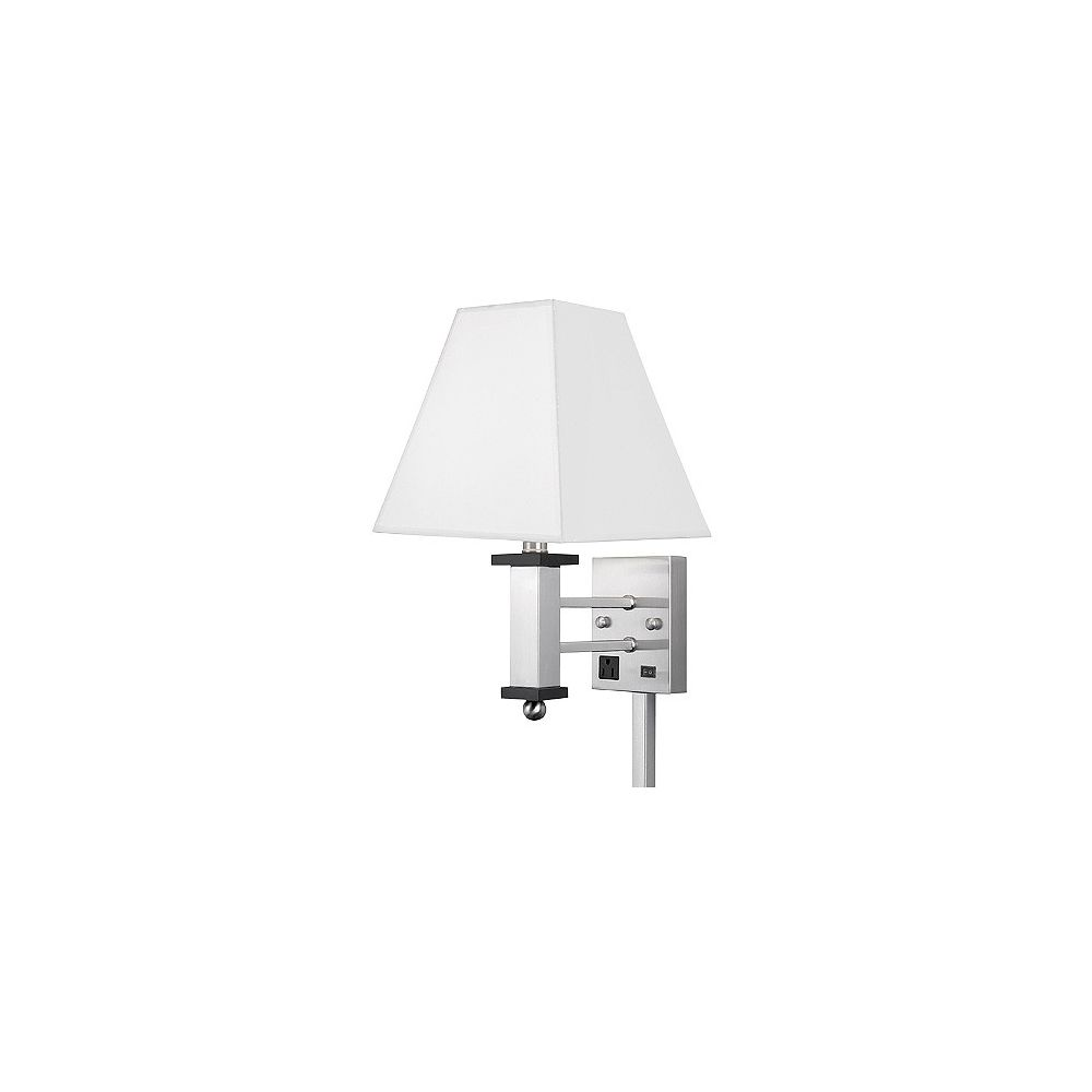 Andaaz Single Wall Lamp, 1 Convenience Outlet, Brushed Nickel/Pure White Linen Shade, 18Hx10Wx14D