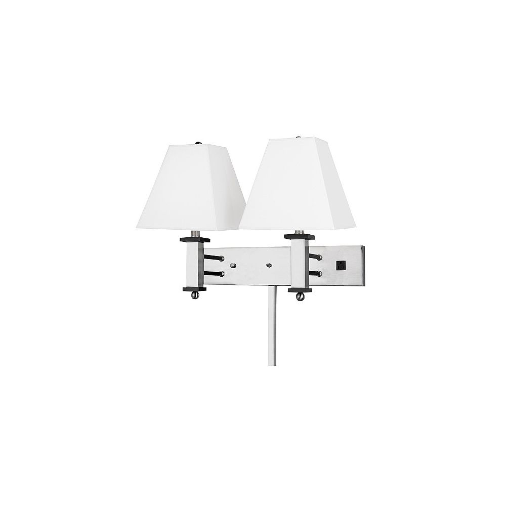Andaaz Double Wall Lamp, 1 Convenience Outlet, Brushed Nickel/Pure White Linen Shade, 18Hx22Wx14D