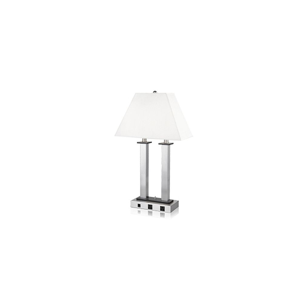 Andaaz Desk Lamp, 2 Convenience Outlets, Brushed Nickel/Pure White Linen Shade, 27Hx16W