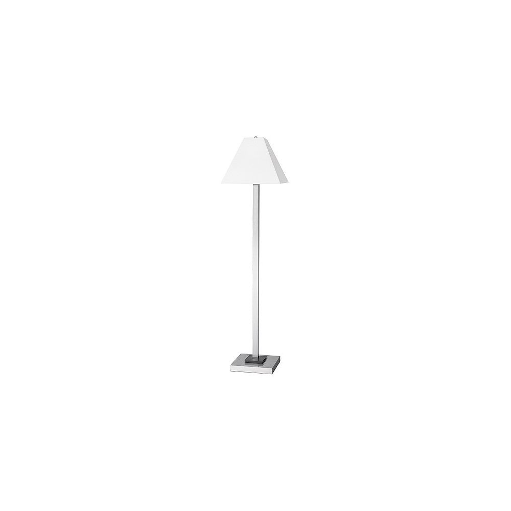 Andaaz Floor Lamp, Brushed Nickel/Pure White Linen Shade, 59Hx15W