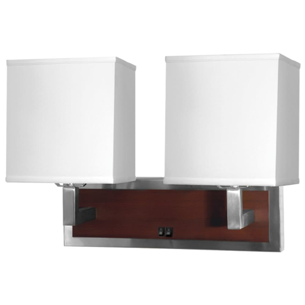 Calibri Double Wall Lamp, Mahogany Wood/Brushed Nickel/Pure White Linen Shade, 14Hx21Wx10D