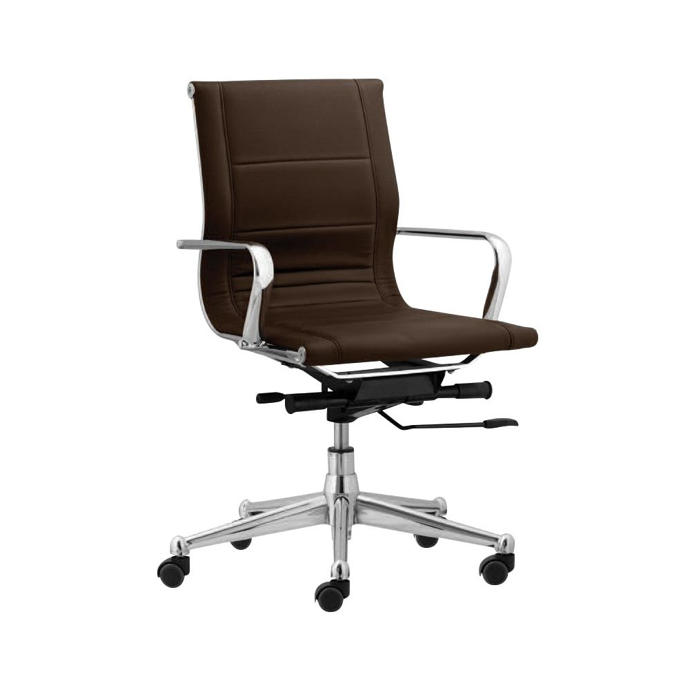 Florence Mid Back Task Chair w/ Metal Arms, Brown (Case Pack: 4)