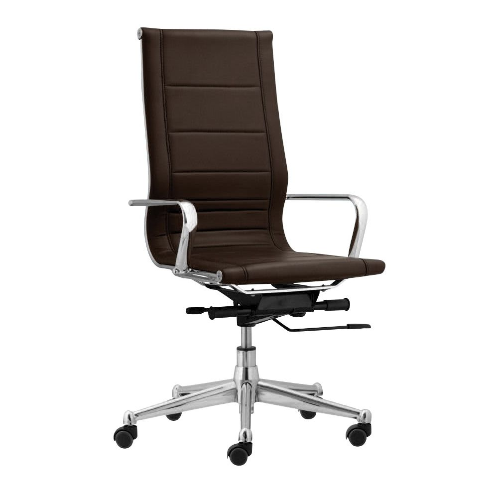 Florence High Back Task Chair w/ Metal Arms, Brown (Case Pack: 2)