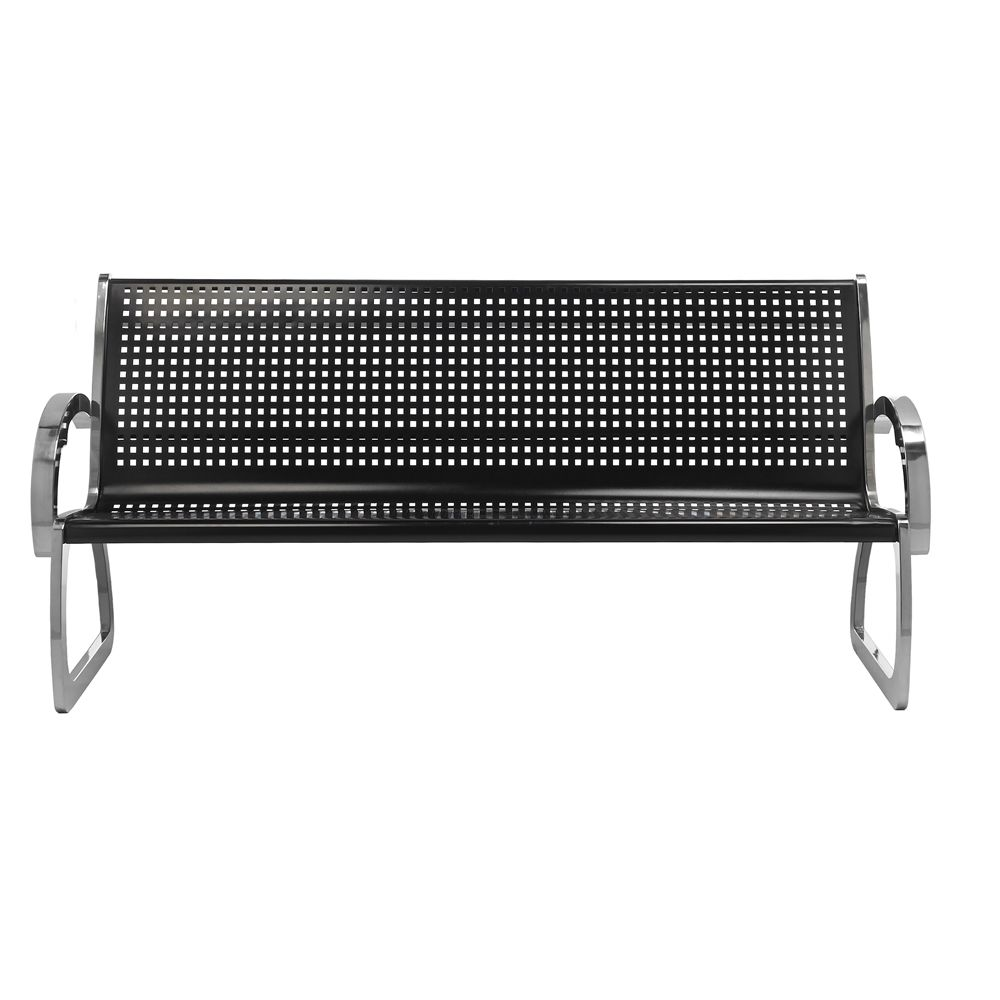 Skyline 4ft. Bench With Backrest, Black and Stainless Steel