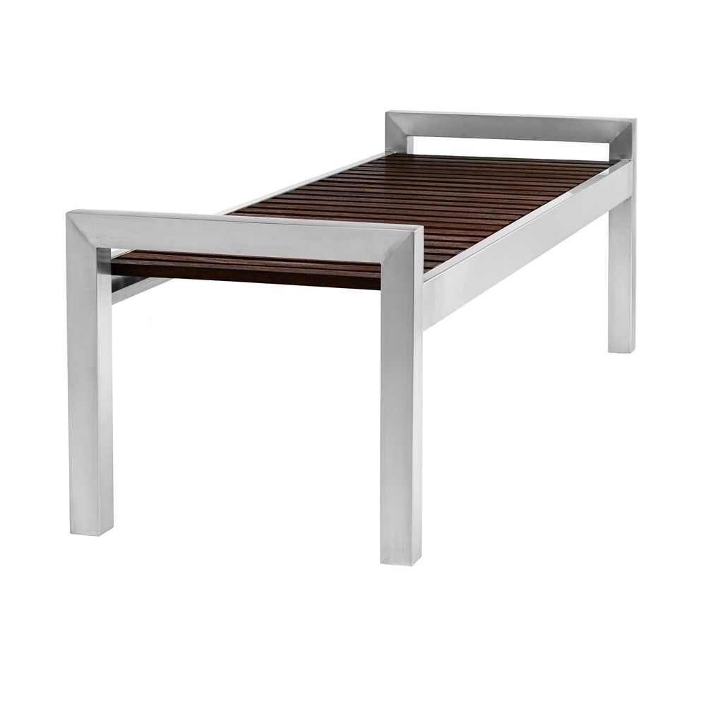 Skyline Wood & Stainless 5 Ft Bench Without Backrest, Espresso