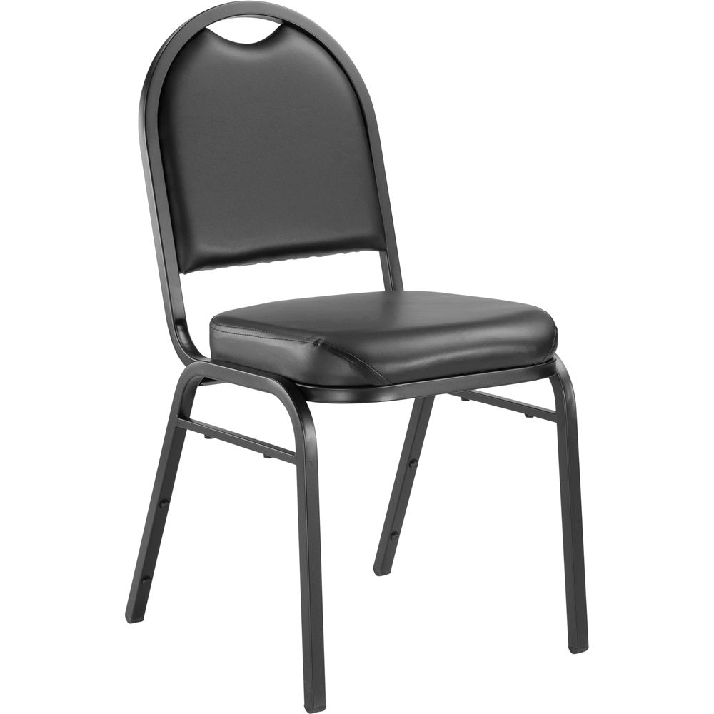 9200 Series Premium Vinyl Upholstered Stack Chair, Panther Black