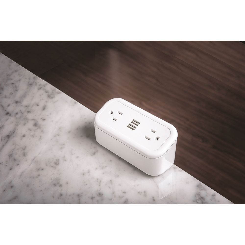 Brandstand CubieMini Charging Station, 2 Power Outlets, 2 USB Ports, White