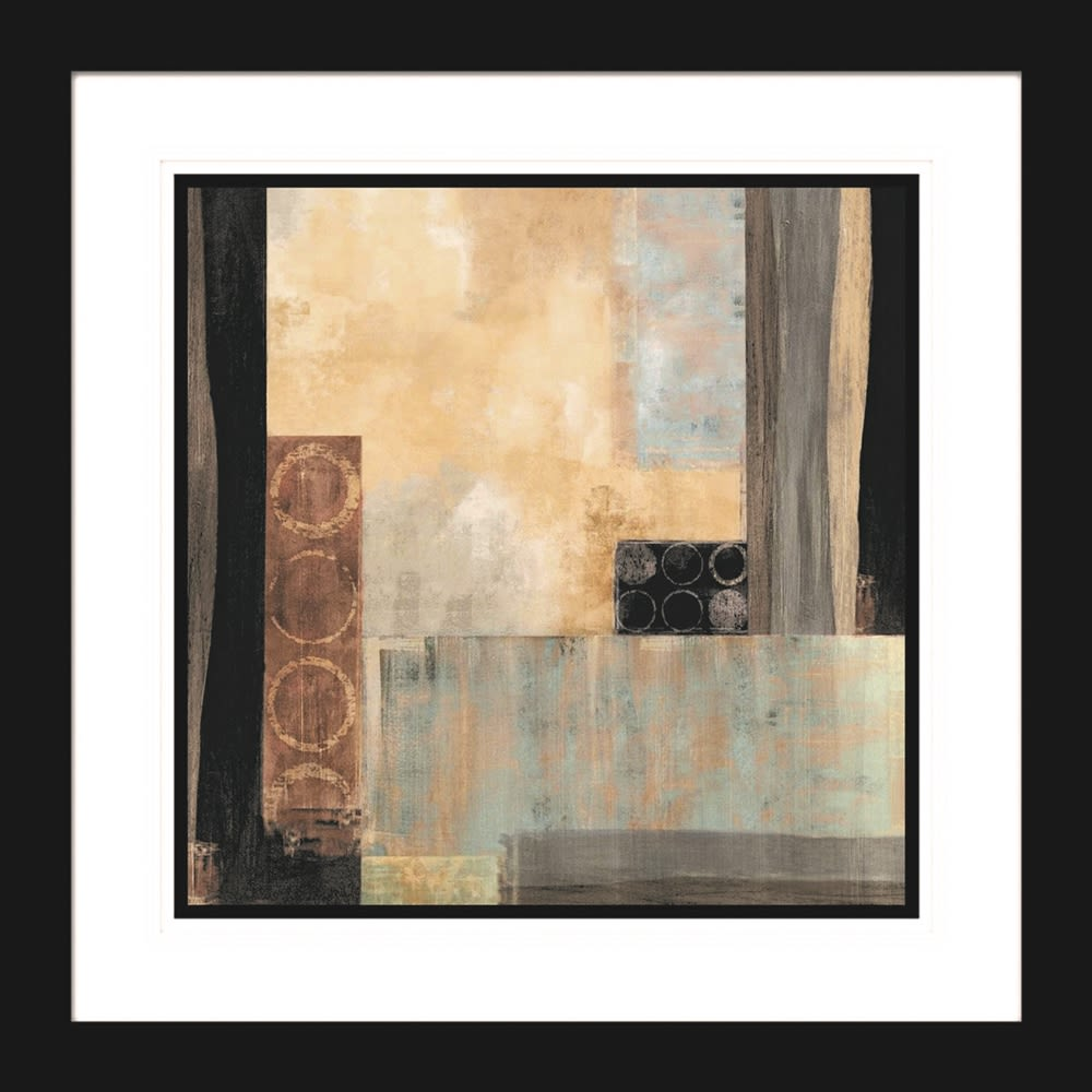 Abstract Cool Square I Artwork, 30Wx30H, Fornari Black 2in Frame, Triple Mat with Beveled Edges