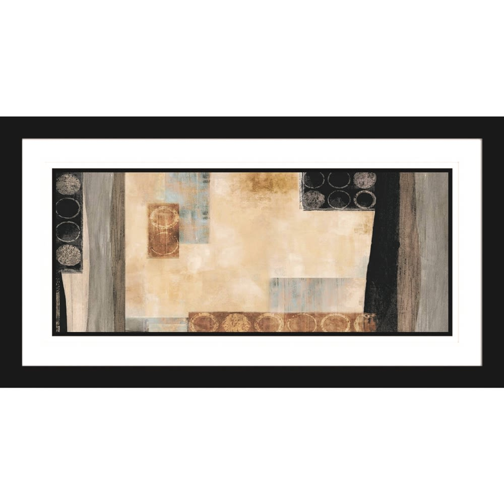 Abstract Cool Sofa Artwork, 46Wx24H, Fornari Black 2in Frame, Triple Mat with Beveled Edges