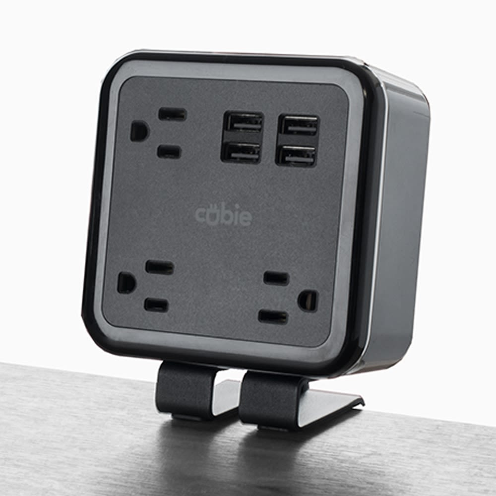 Brandstand Cubie Charging Station, 3 Power Outlets, 4 USB Charging Ports Black/Silver