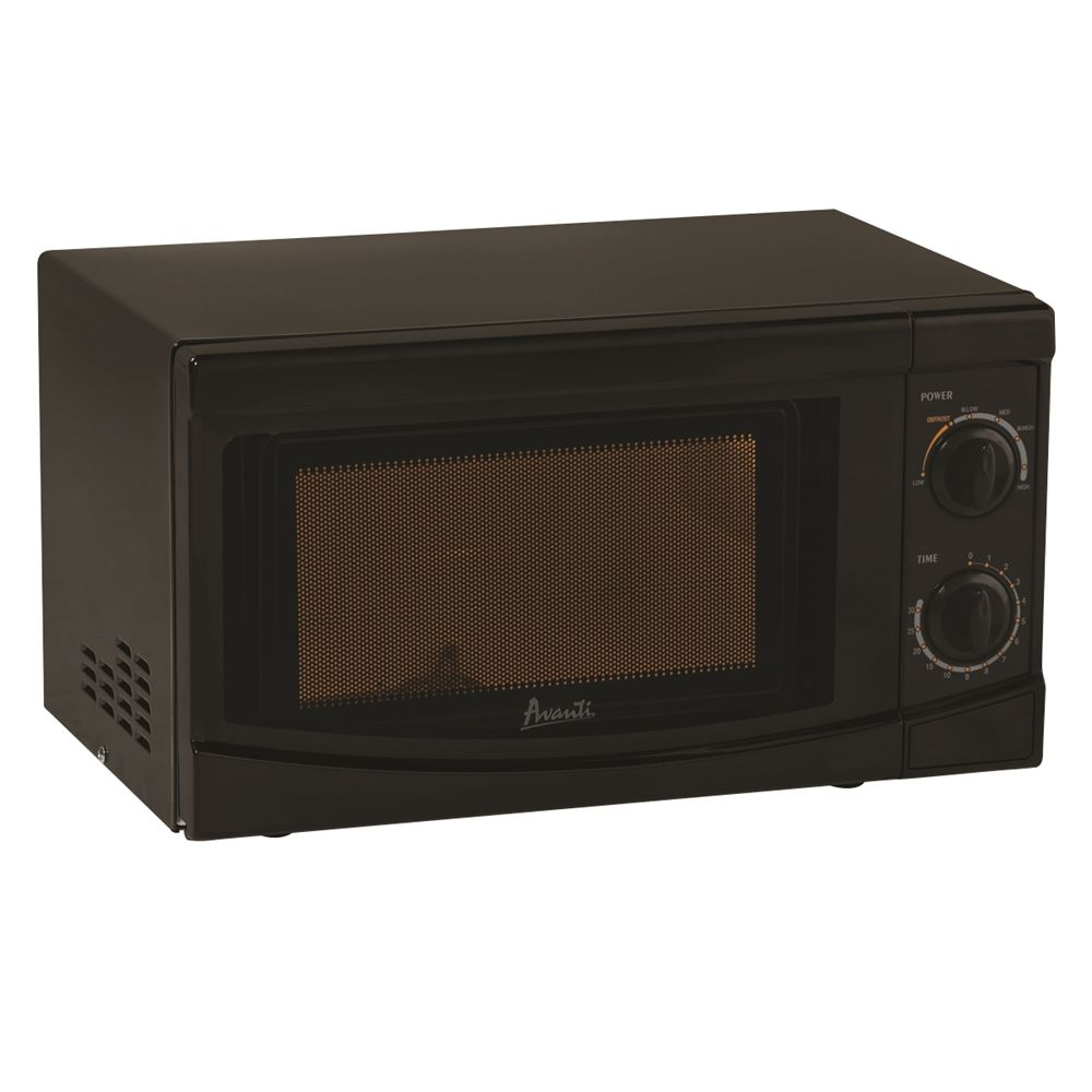 Avanti® Microwave with Rotary Knob, 0.7 Cu Ft, 700 Watt, Push Button Door Release, Black