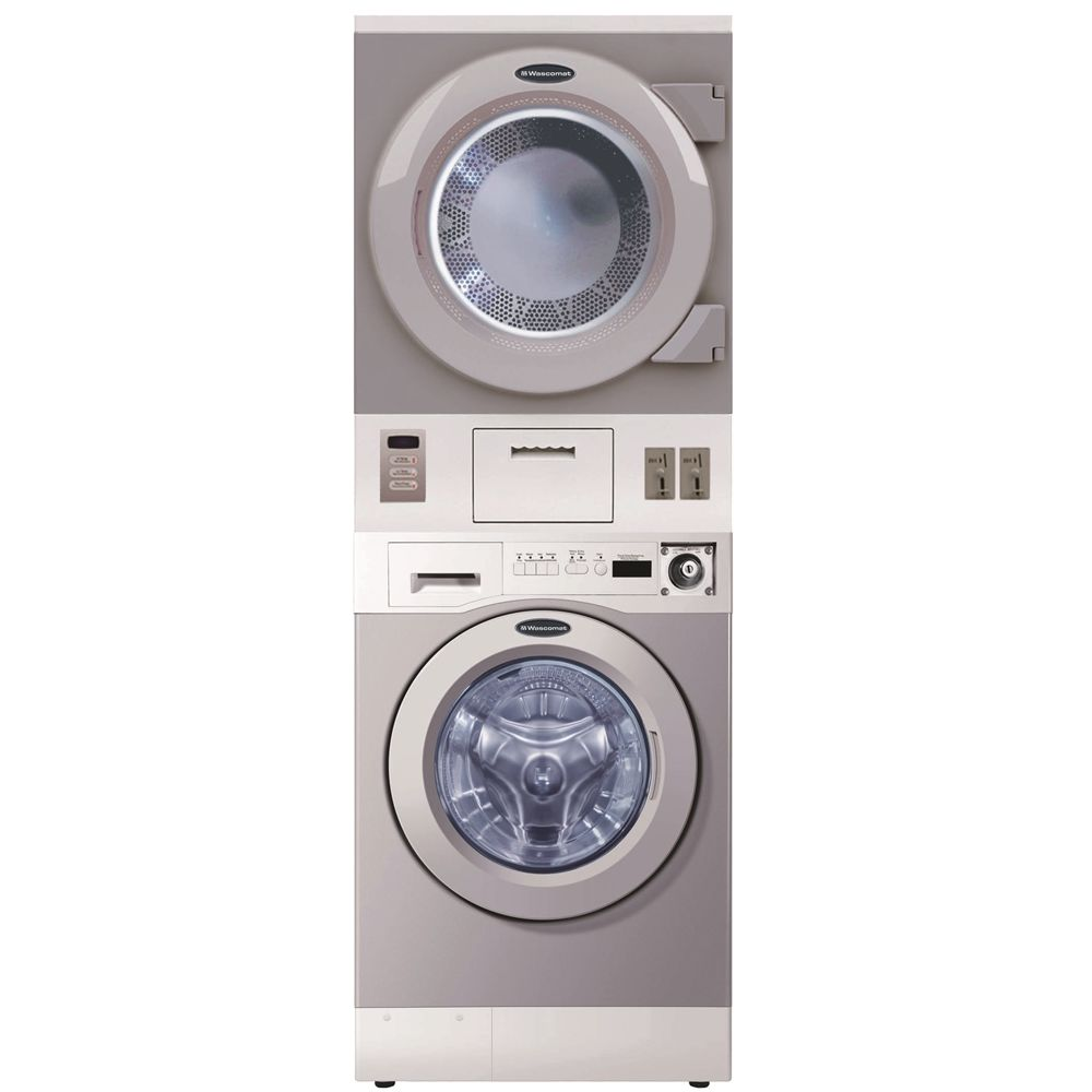 Crossover® by Wascomat Coin Operated Stacked 3.5 Cu Ft Washer & 7.5 Cu Ft Dryer, Gray/White
