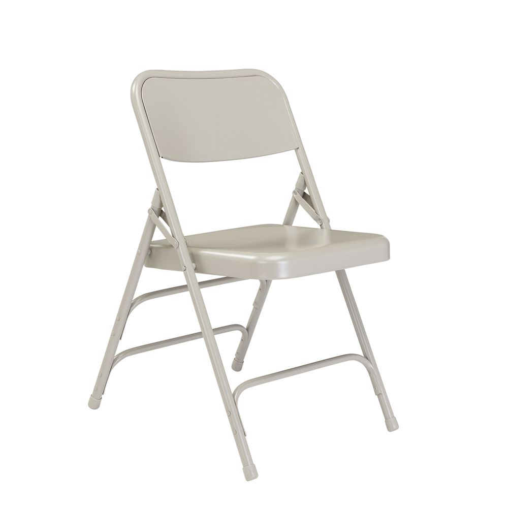300 Series Deluxe All Steel Triple Brace Double Hinge Folding Chair, Grey (Pack of 4)
