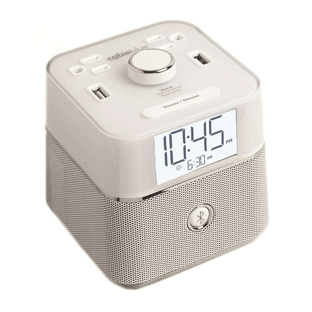 Brandstand CubieBlue Alarm Clock w/ Bluetooth Speaker, 2 Outlets & 2 USB Charging Ports, White