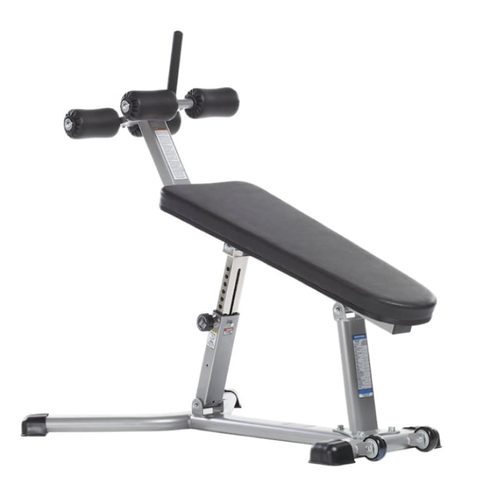 "Hotel Fitness® Adjustable Abdominal Bench, Nickel Plated, Padded Foot Supports, 59"" D x 37"" W x 54"""