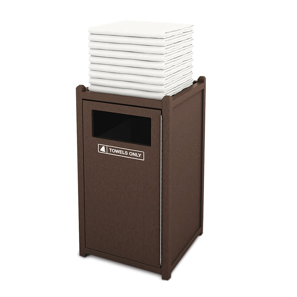 Recycled Plastic Towel Station, Brown w/ Black Inserts, Durable, Indoor or Outdoor Use