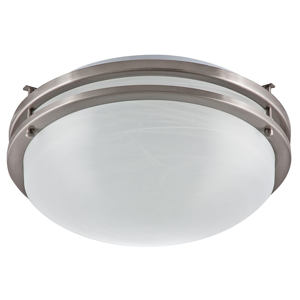 "Ceiling Light, 14.75"" Dia x 4.75"" H, Brushed Nickel w/ Alabaster Glass Diffuser"