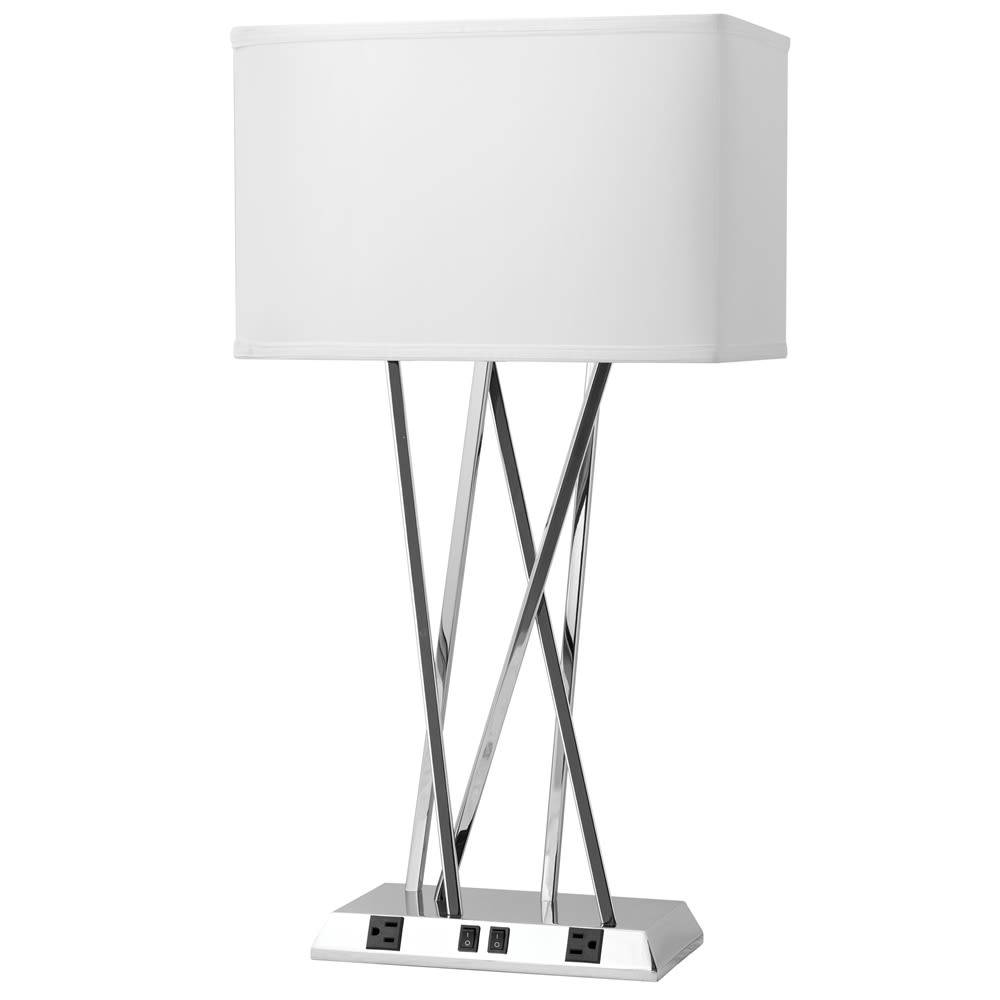 Breeze Double Table Lamp Lamp, Shiny Nickel Finish