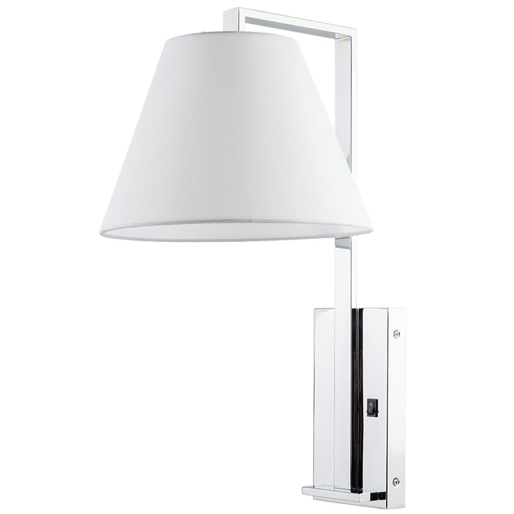 "Confident Single Wall Lamp, 22.5""H x 12""W x 15""D, Chrome w/ Pure White Linen Shade"