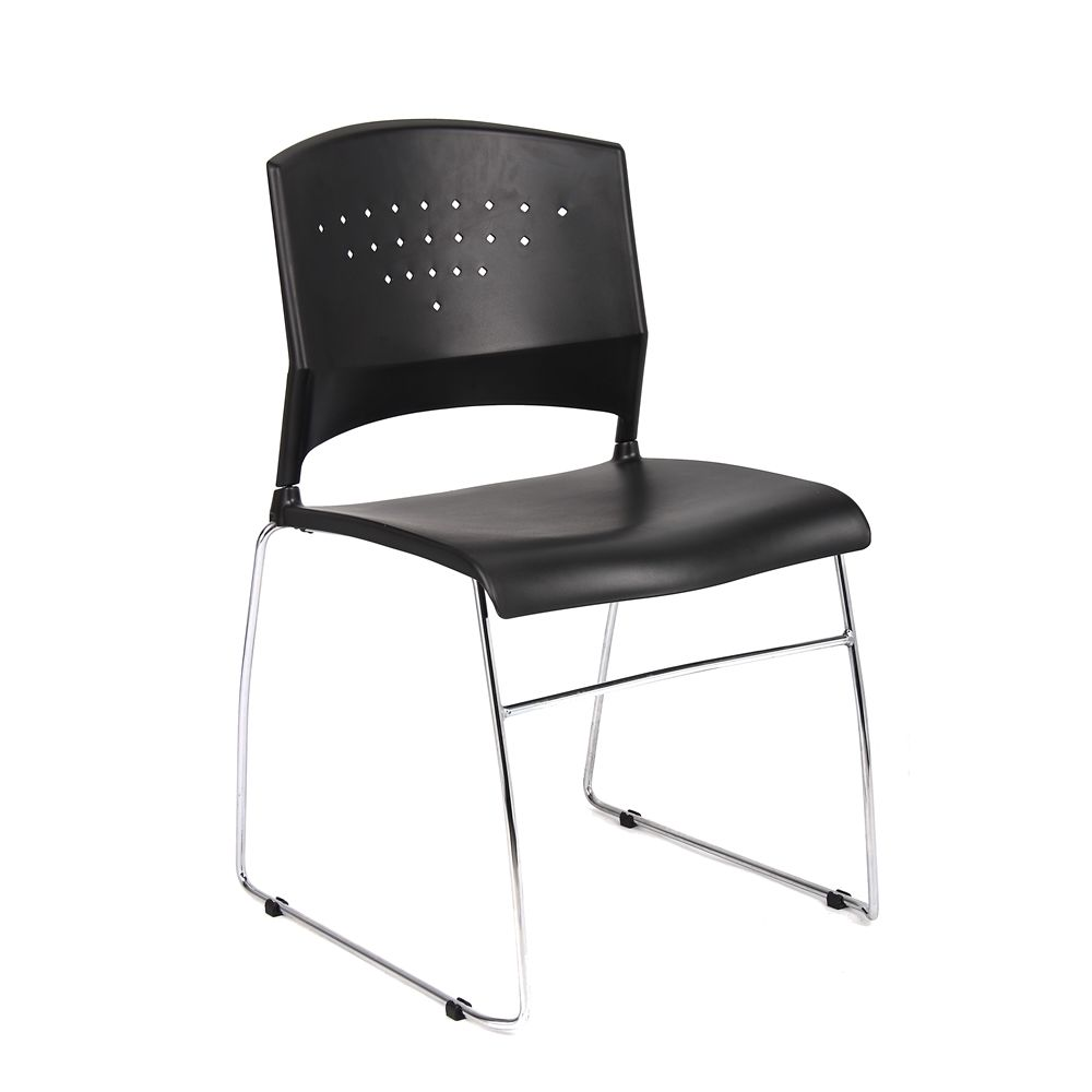 Boss Stack Chair with Chrome Frame, Black