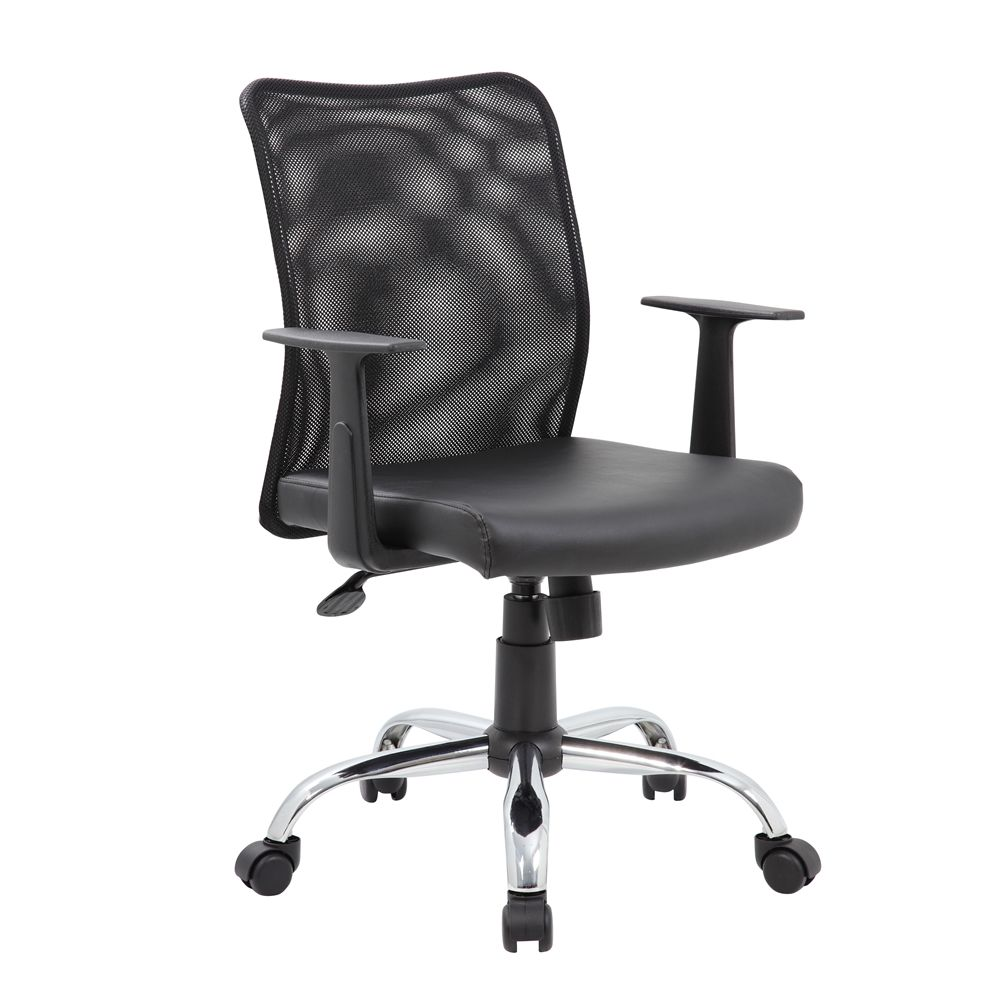 Boss Budget Mesh Task Chair with T Arms, Black
