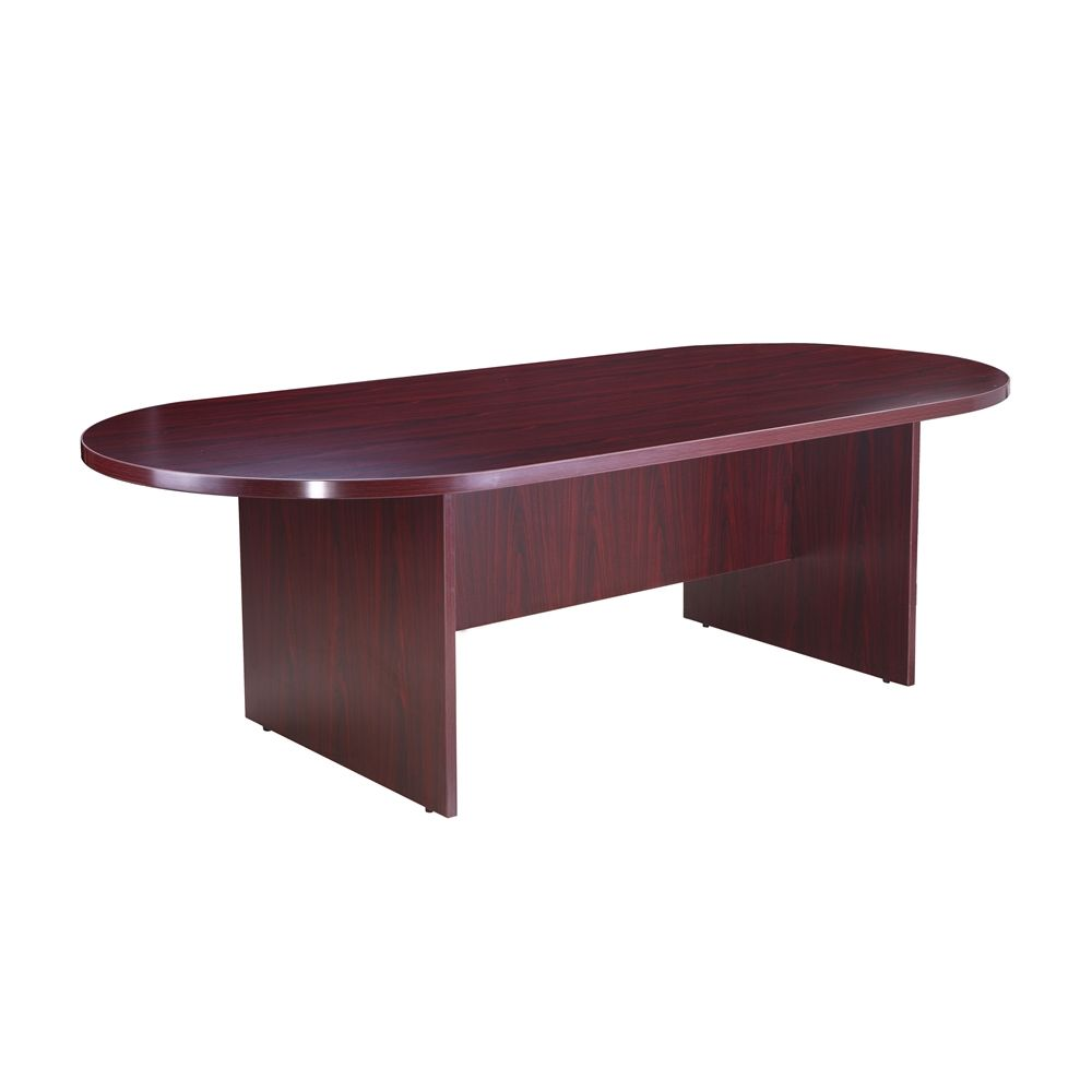 Boss Office Product, Race Track Conference Room Table, Laminate Mahogany, 95W X 43D