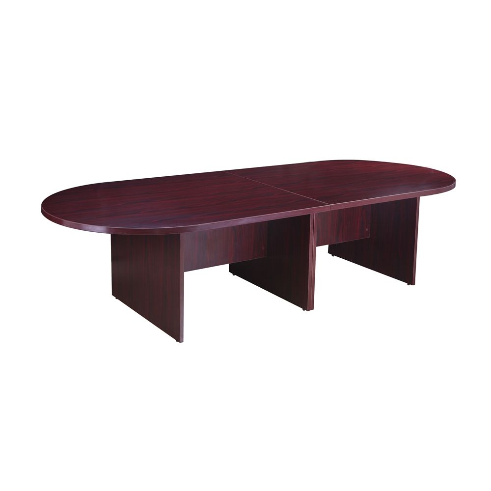 Boss Office Products, Race Track Conference Room Table, Laminate Mahogany, 120W X 49D