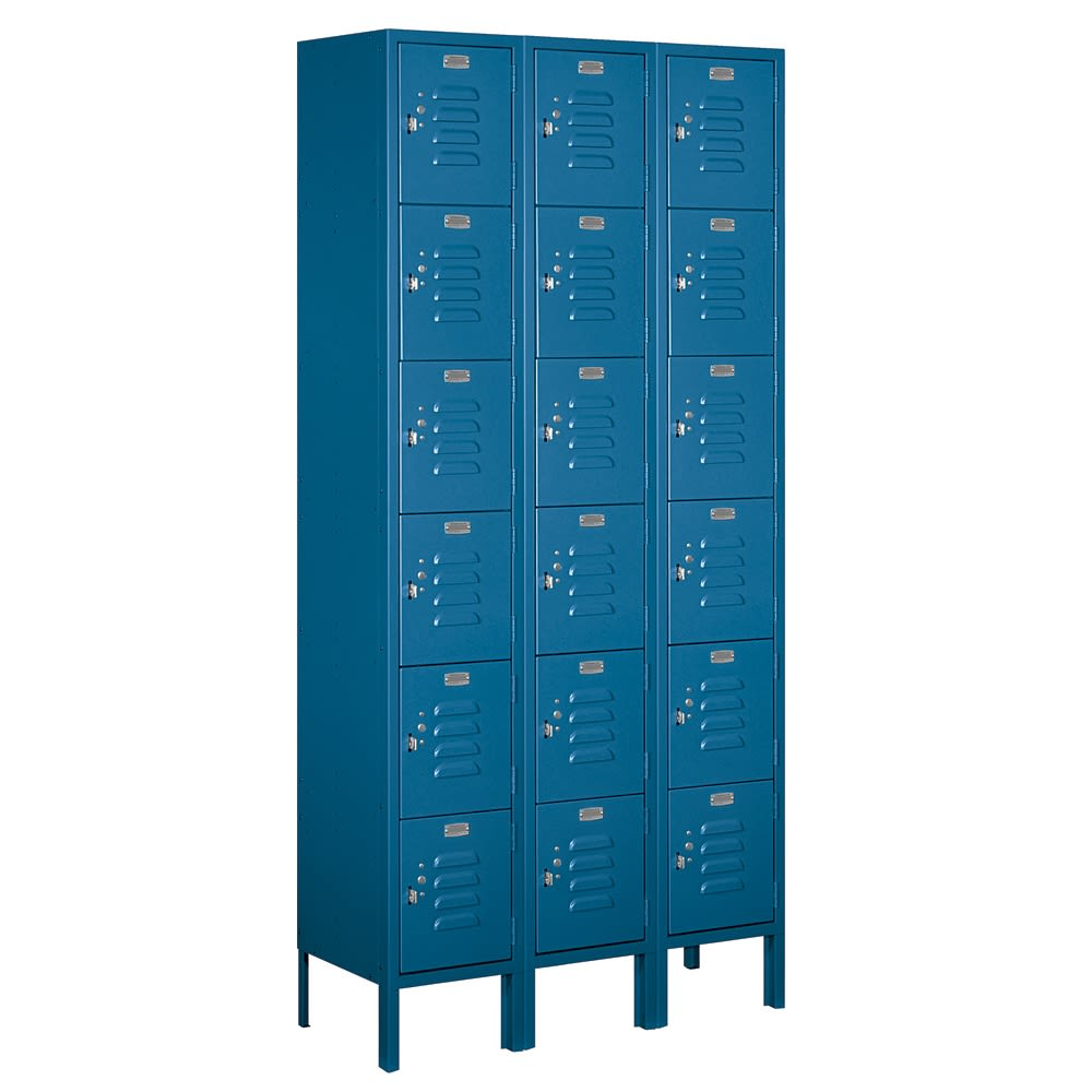 Six Tier Box Style Standard Metal Locker, 3 ft W x 6 ft H x 12 in D, Blue, Assembled