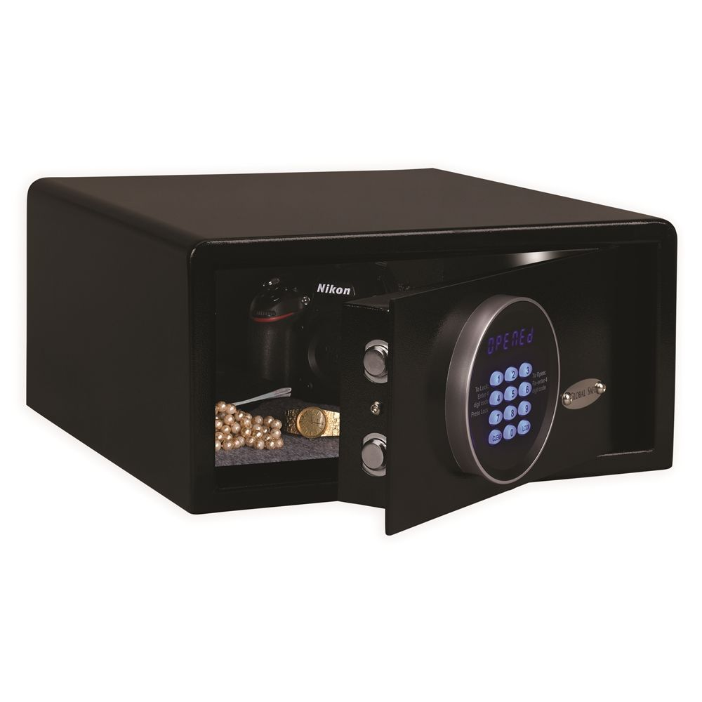 Global Safe Fit Compact Safe, LED Display Digital Function, Front Load, Black