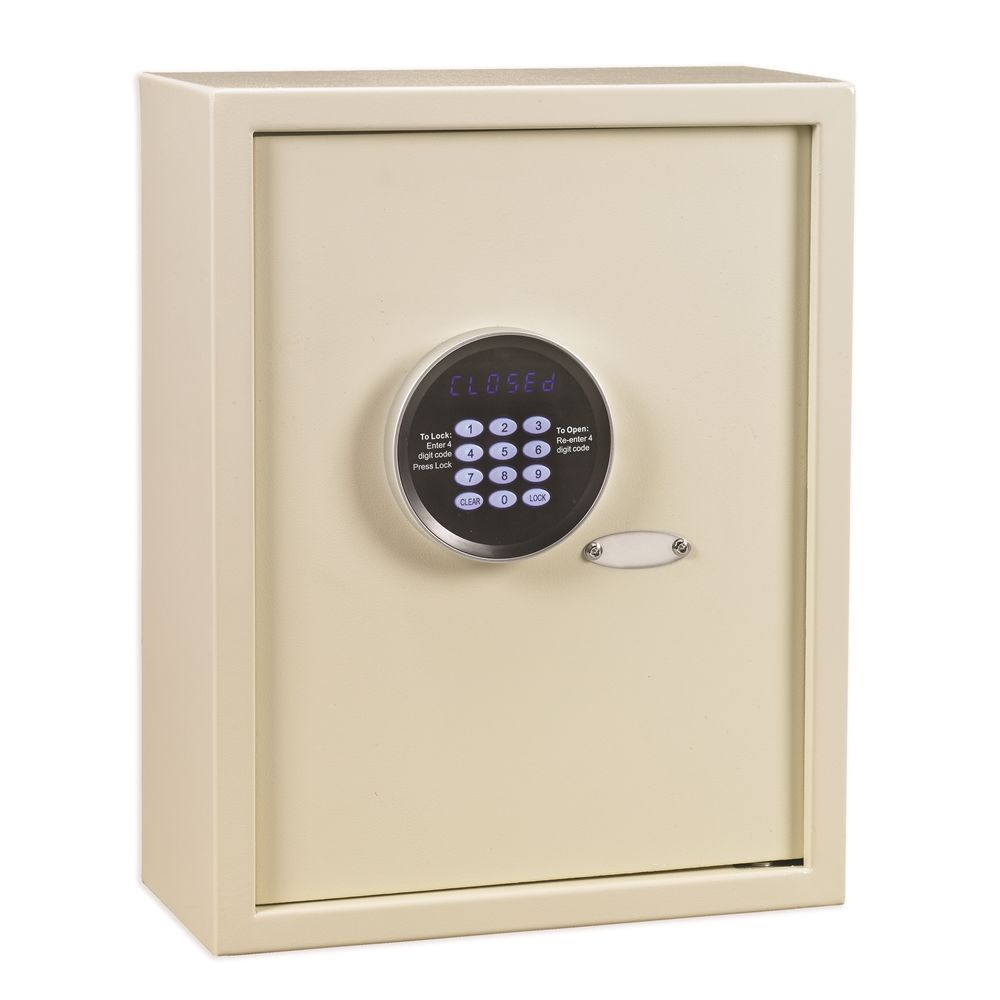 "Global Wall Safe Plus, Recessed, LED Display Digital Function, Holds 17"" Laptops, Ivory"