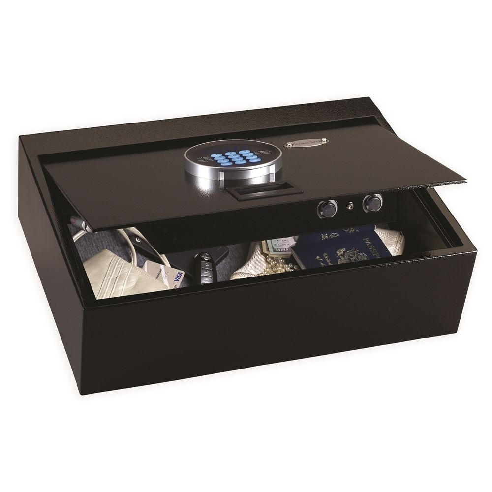 "Global Drawer Safe, Top Opening, LED Display Digital Function, Holds 15"" Laptops, Black"