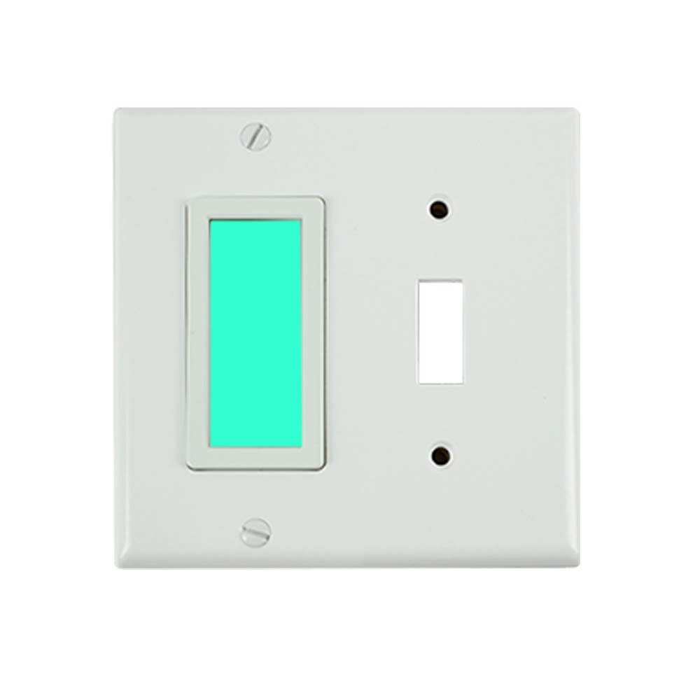 Limelite, Green SideLite Toggle, 2 Gang, White Wall Plate, 4.5W x 4.5H