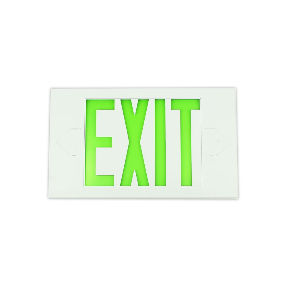 Limelite Exit Sign White, Single Sided, Battery Back Up, Universal Mount, LEC Lamp, 7.5H x 13W