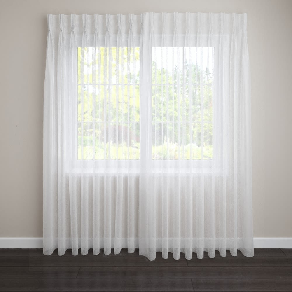 "Leresh Sheer, Pinch Pleat, 144"" Rod Width, 6"" Return, 36"" to 96"" Length (SPECIFY)"