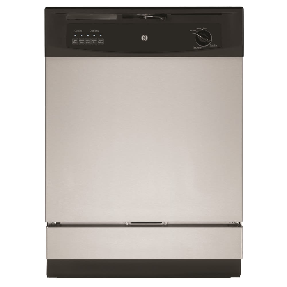 "GE® 24"" Built-In Dishwasher, Energy Star Rated, Stainless Steel and Black"