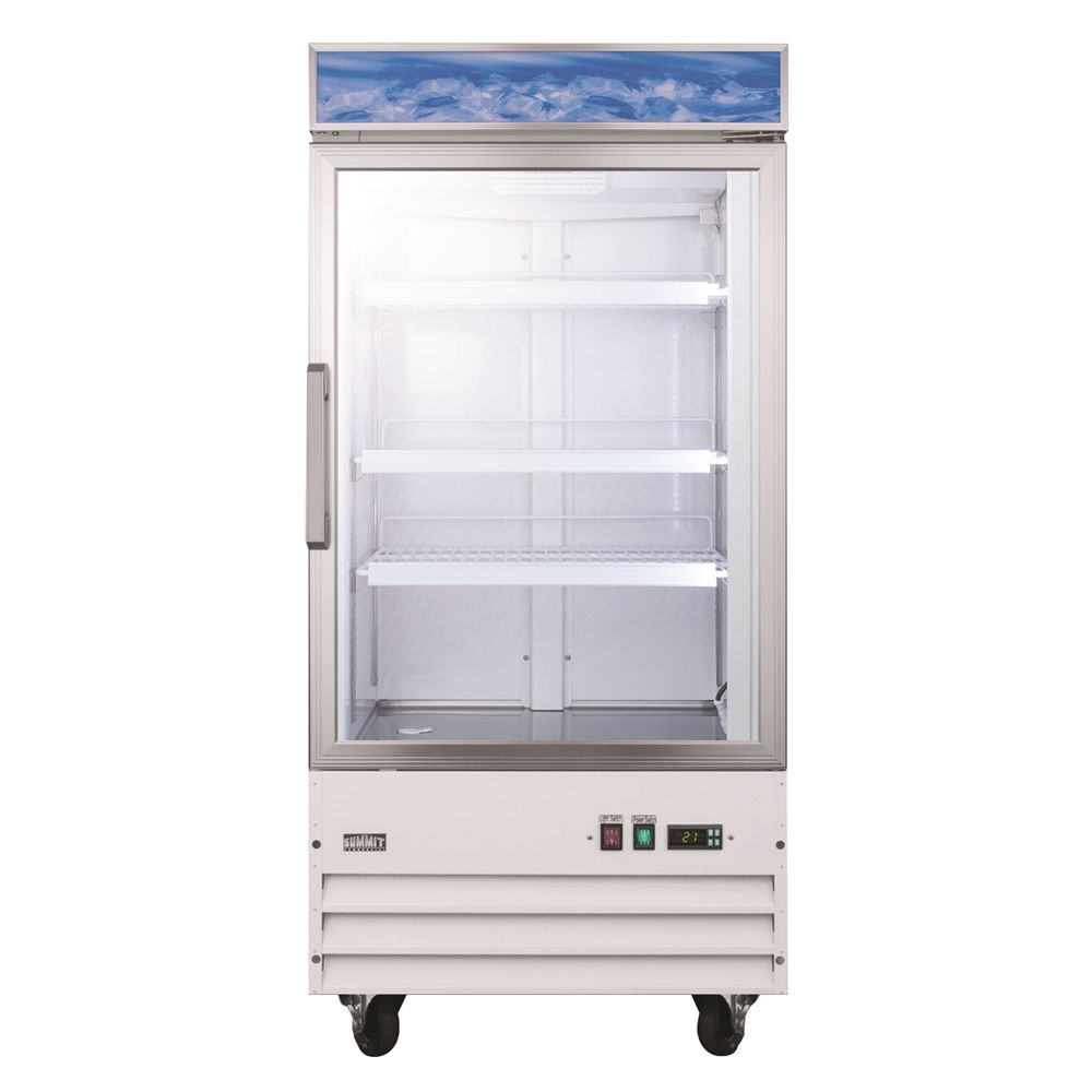 Summit Commercial Freezer, 9.0 Cu Ft, Frost-Free Defrost, Glass Door w/ White Cabinet