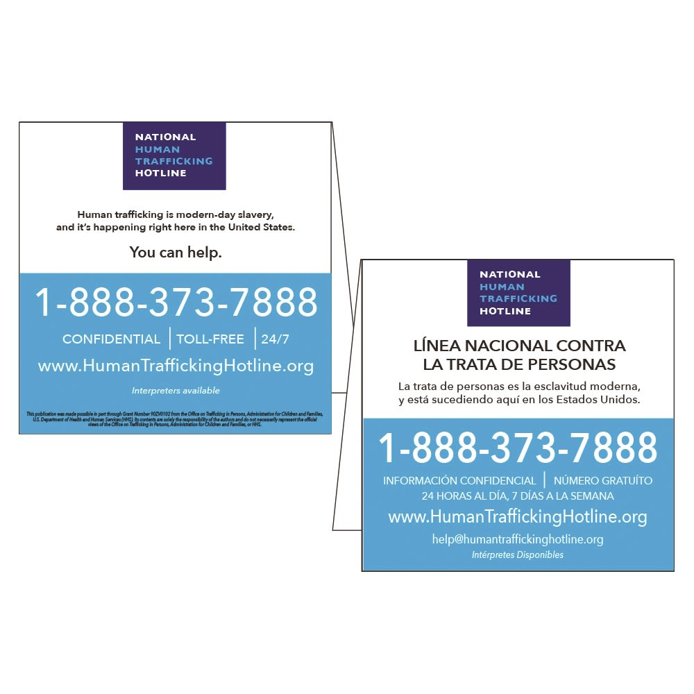 National Human Trafficking In-Room Table Tent, White Styrene