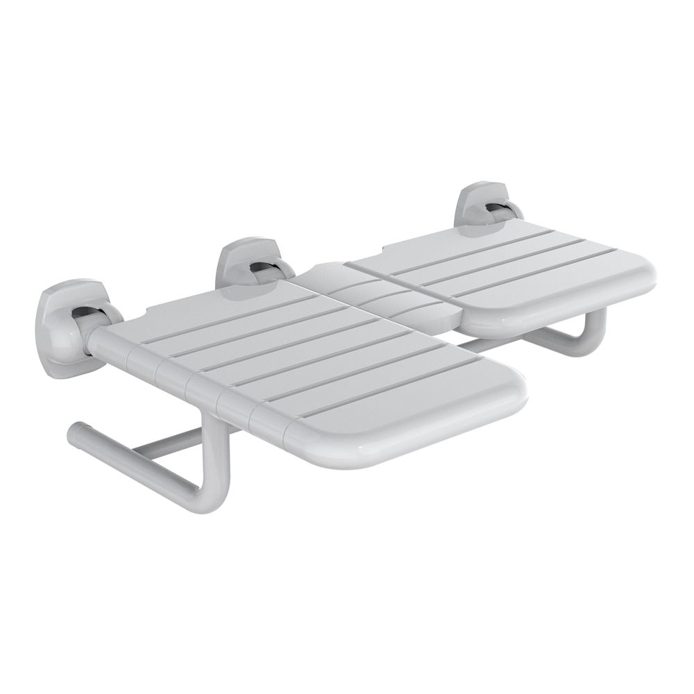 "WingIts® Pure Elegance Mode Right L-Shaped Shower Seat, Permanent Mount, White Nylon , 28"" x 22.5"""