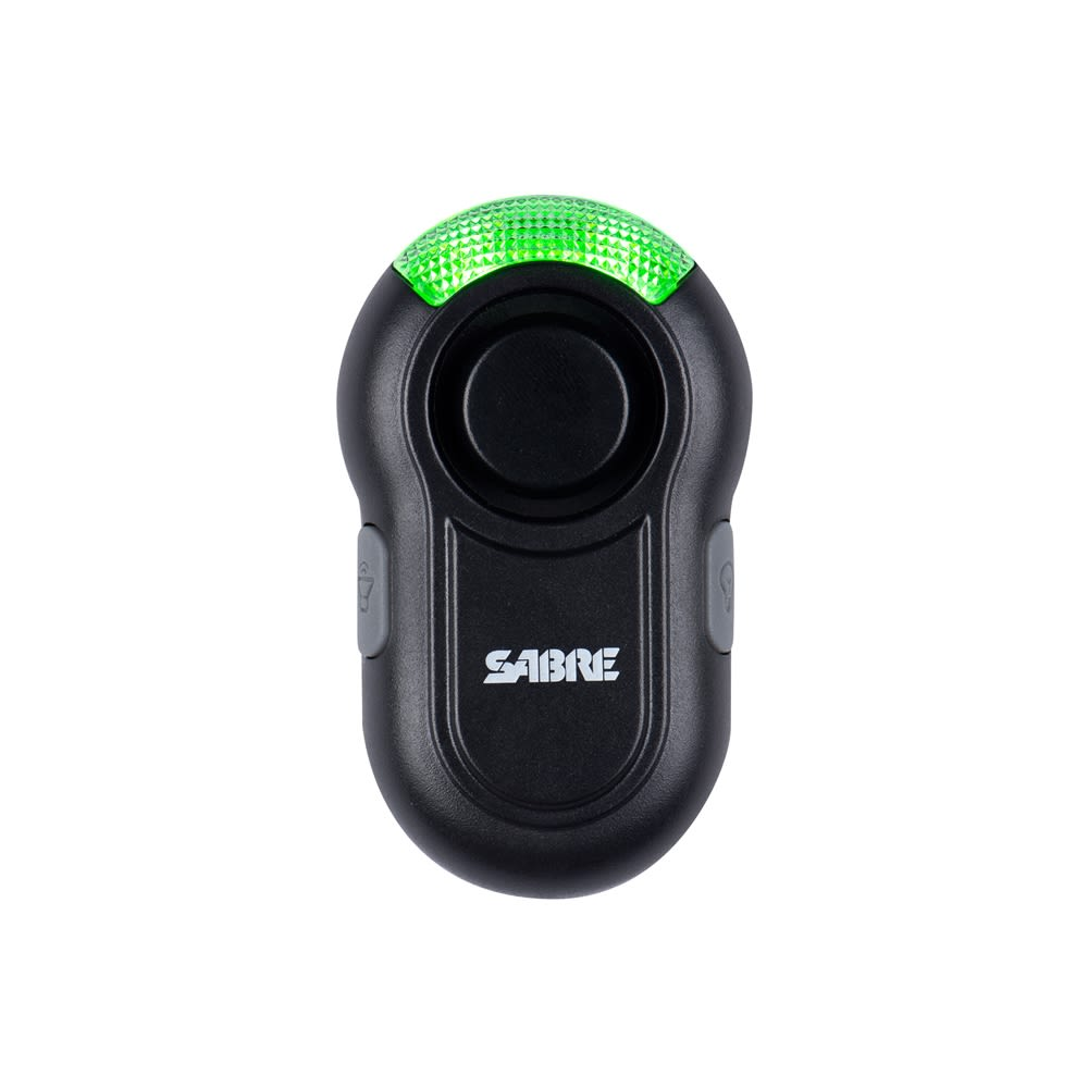 SABRE Personal Alarm Clip,Features, LED Light, 120 dB, Black
