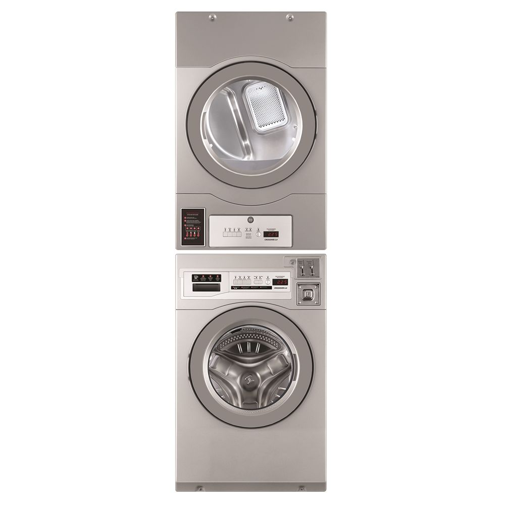 Crossover® by Wascomat Stacked 3.5 Cu Ft Washer & 7.0 Cu Ft Gas Dryer, Coin or Non-Coin, Energy Star
