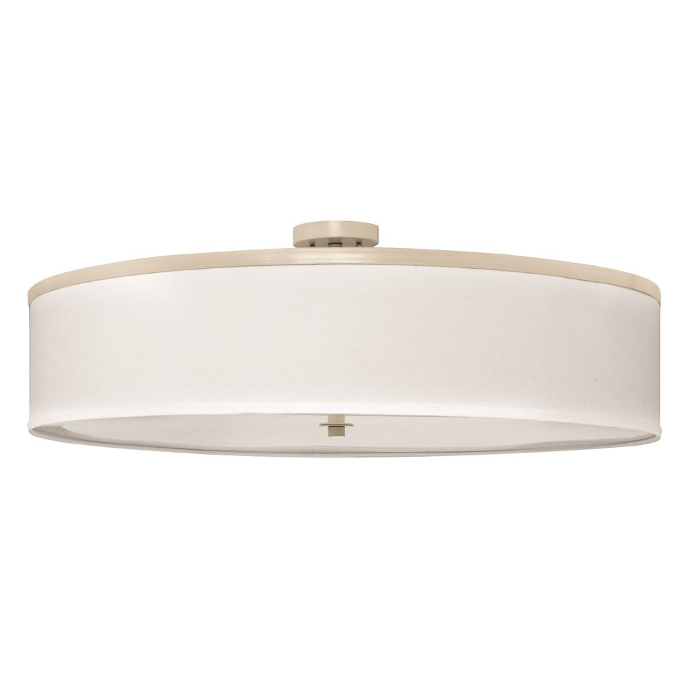 "Drum Pendant, 36""Dia x 12""H, Powdercoated Plymouth Rock Tan, White Shade"