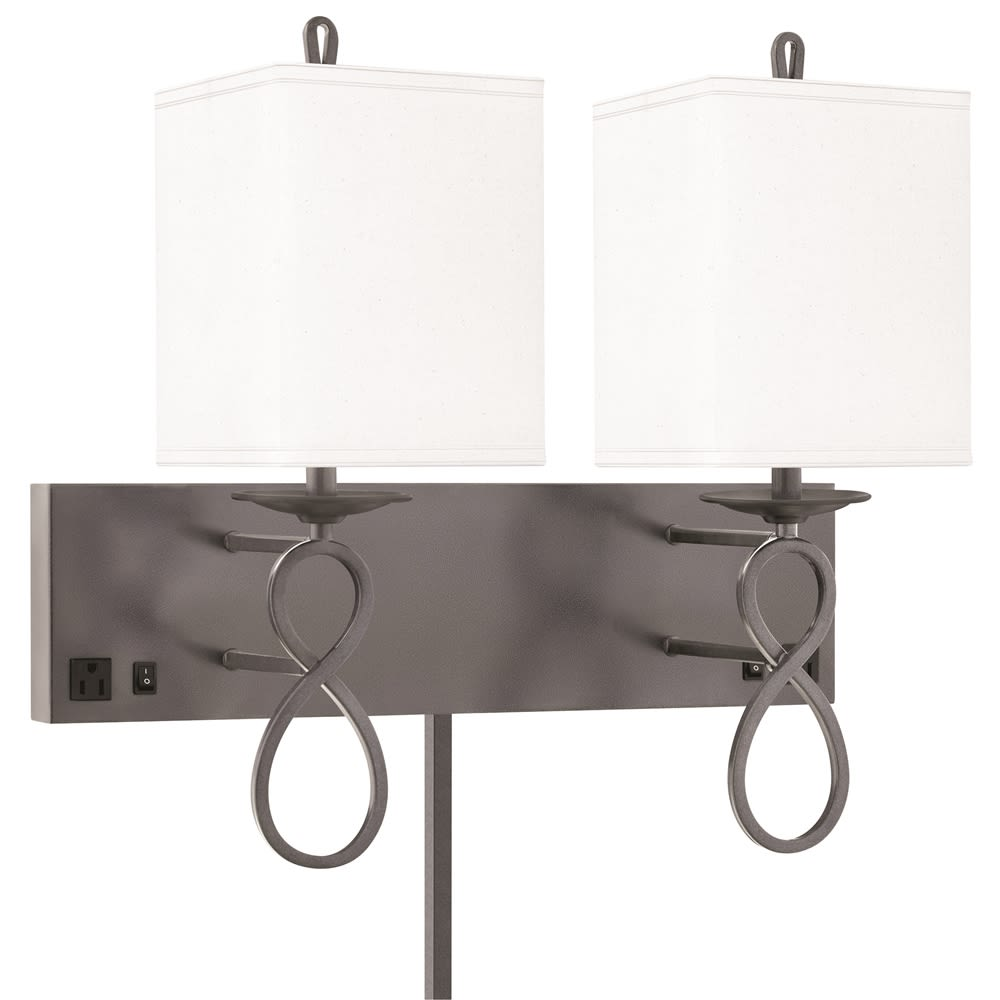 "Double Wall Lamp, 21""H x 12""Ext, 2 Outlets, Gunmetal w/ Black Finish, White Shade"