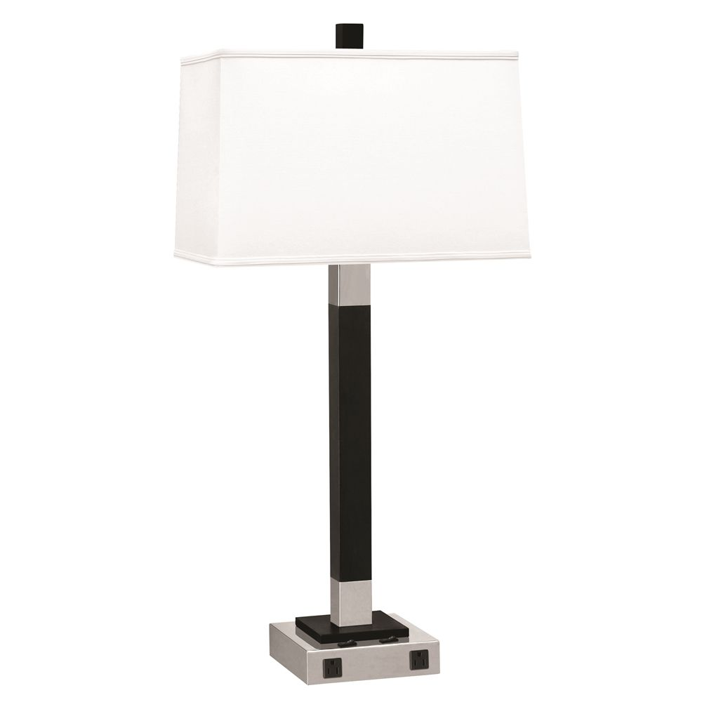 "Double Light Twin Nightstand Lamp, 30"",  2 Outlets, Brushed Steel w/ Black Ebony Finish, White Shade"